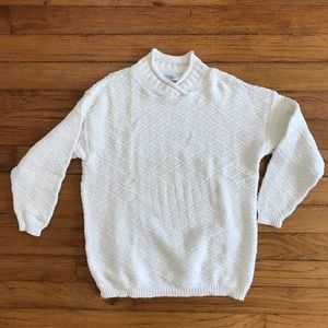 VTG 80s Thick Knit White Pullover Sweater Small